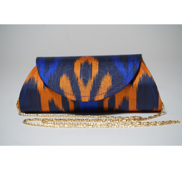 """Hayfields"" Silk Ikat Hard Shell Clutch, Small, in Blues and Orange"