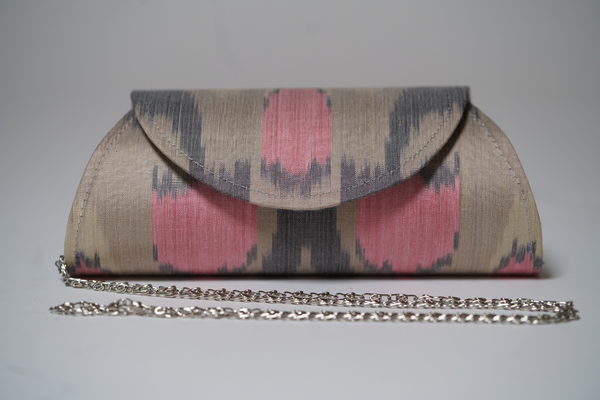 """Cluny"" Silk Ikat Hard Shell Clutch, Small in Grey and Pink"