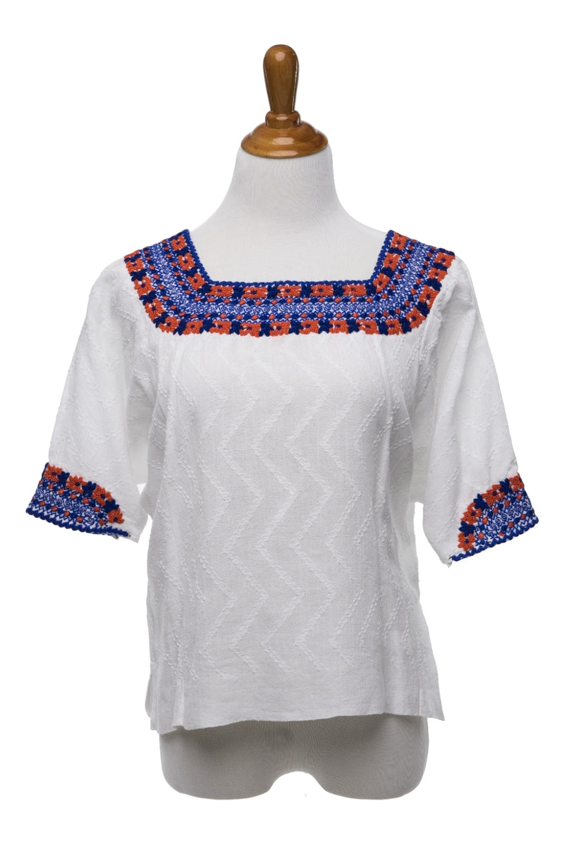Gabrielle Guatemalan Blouse - Blue & Orange