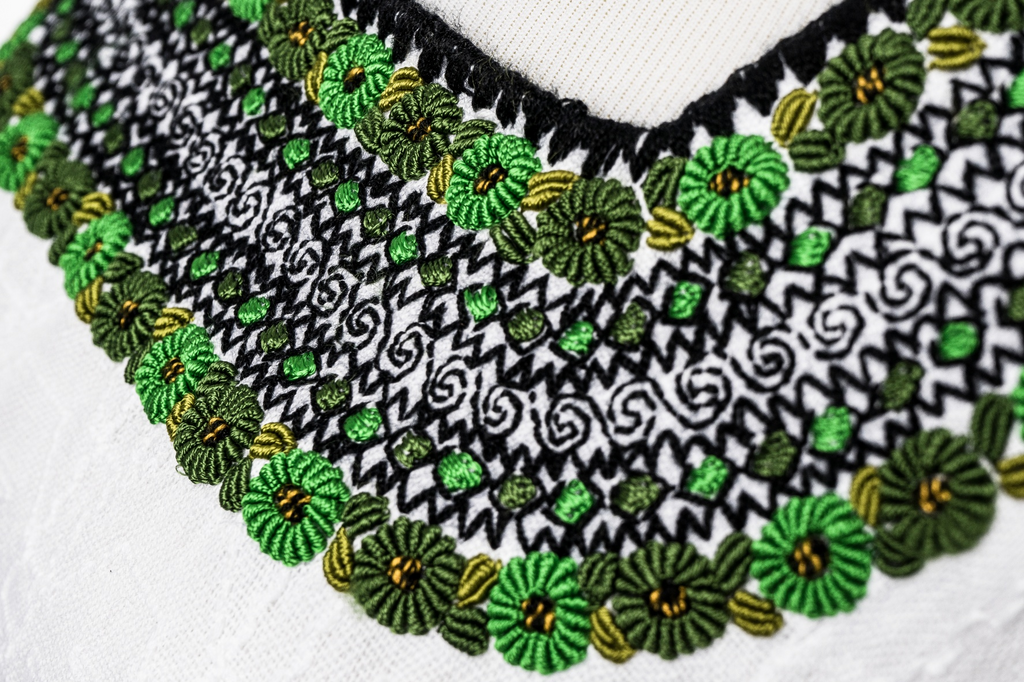 """Beatriz"" Guatemalan Blouse with Detailed Bottom Edge in Green and Black"