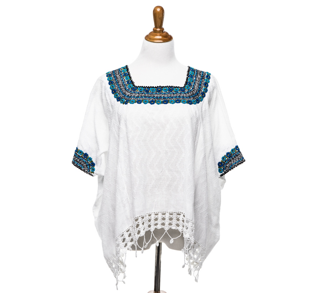 """Beatriz"" Guatemalan Blouse in Turquoise with Detailed Bottom Edge"