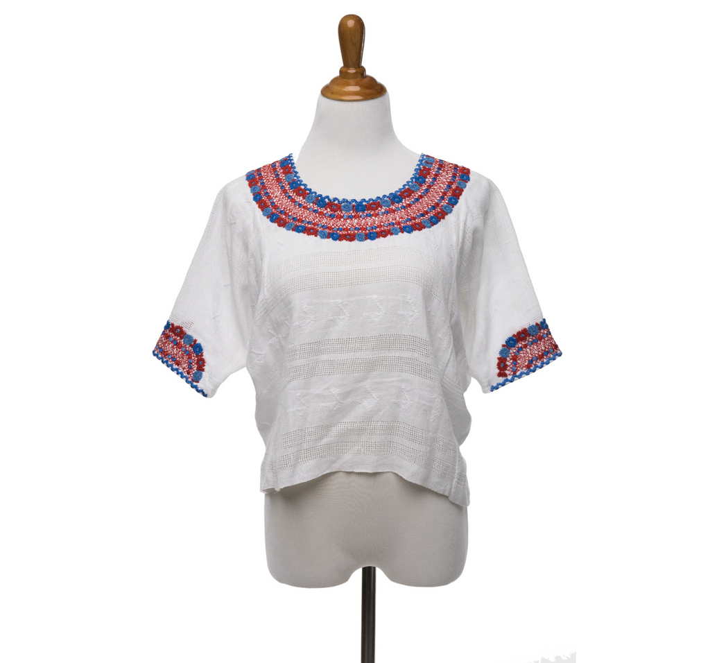 """Gabrielle"" Fitted Guatemalan Blouse in Red and Blues"