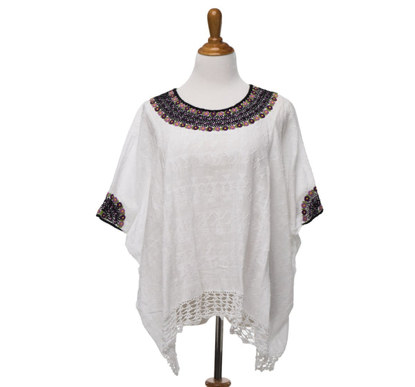 hand embroidered Guatemalan blouse white with purple and green embroidery on neck and arms, global chic for the modern woman