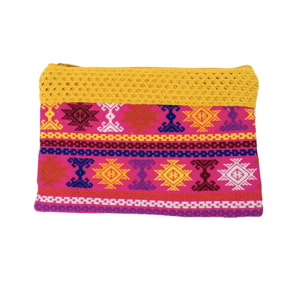 Guatemalan Textile Clutch- Pink, Yellow, and Royal Blue
