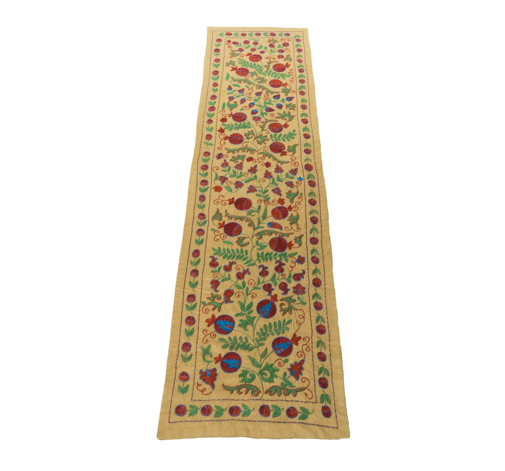 Suzani Table Runner- Tan with Red, Blue, and Green