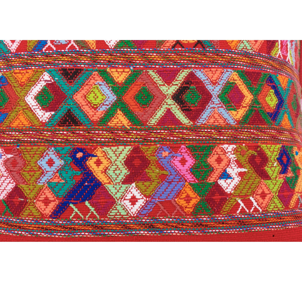 Guatemalan Textile Pillow- Red, multi-color