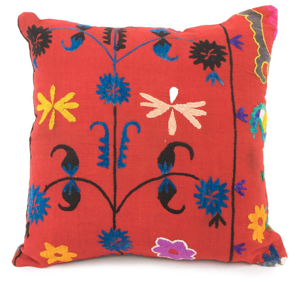 Vintage Suzani Pillow- Red
