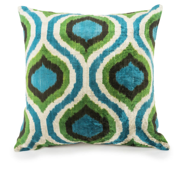 silk velvet pillow from Turkey. Handmade. Ikat in teal, brown, white  and green