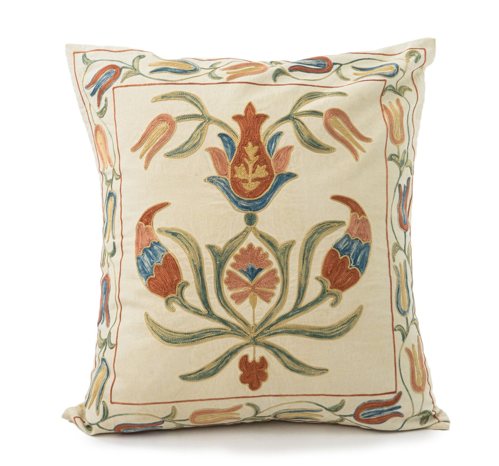 Handmade Suzani pillow cream background with embroidered silk floral design Made in Turkey
