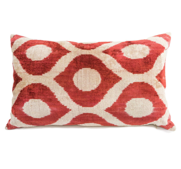 """Drummond"" Silk Velvet Ikat Pillow- Red and White"