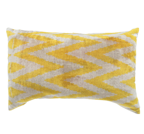 """Jaune"" Velvet Ikat Pillow- Yellow and White"