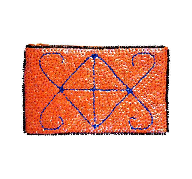 Ayizan Beaded Clutch- Orange and Blue