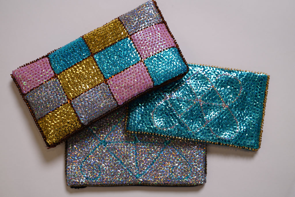 VéVé Beaded Clutch- Turquoise, Silver, Pink, and Gold
