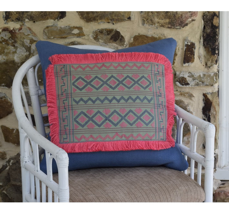 Bhutanese textile pillow, periwinkle blue, mint green and pink. Hand woven by women in Bhutan on a backstrap loom. Artisan Made.