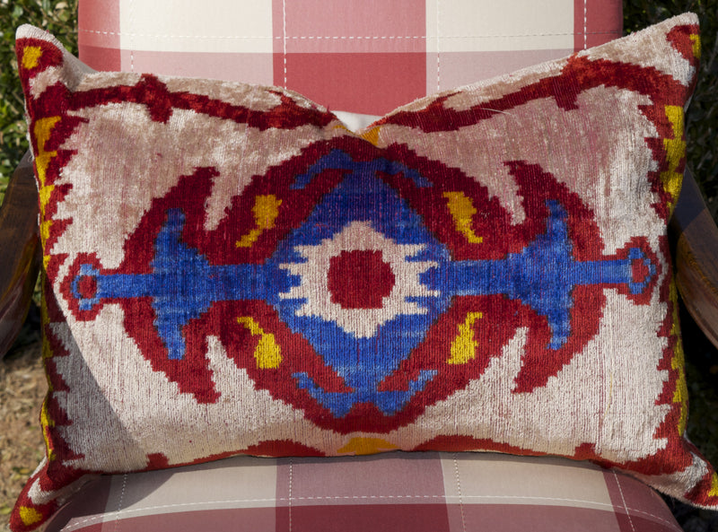 Cazenac Silk Velvet Ikat Pillow