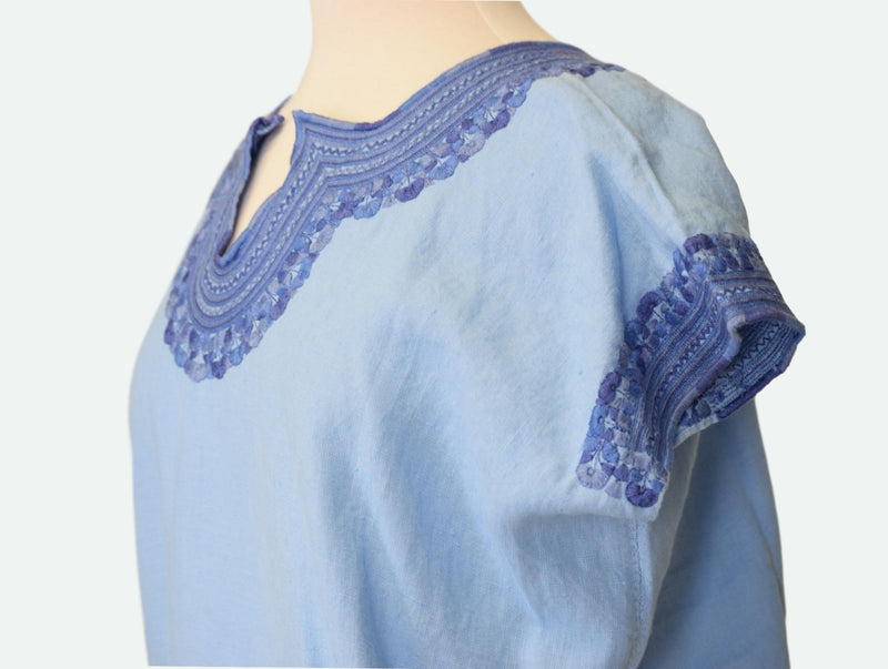 Kahlo Mexican Linen Blouse- French Blue