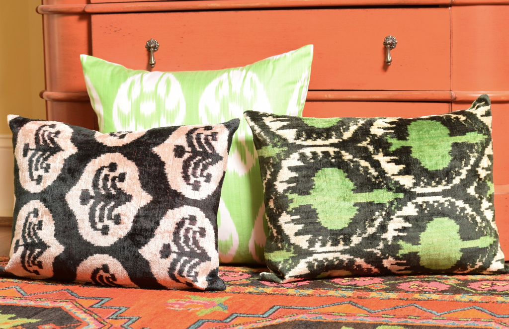 Philippe Silk Velvet Ikat Pillow