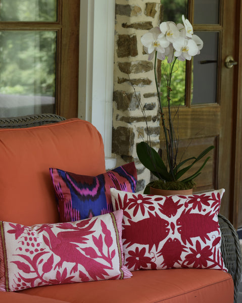 """Atrani"" Silk Ikat Pillow"