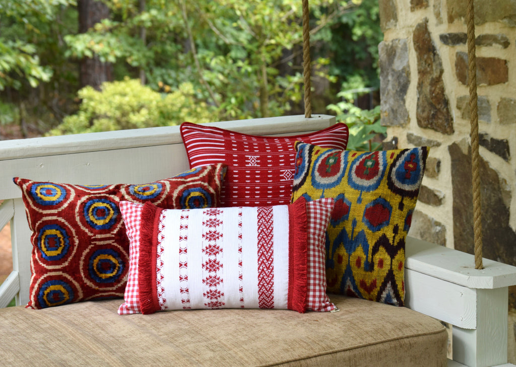 """Feliciano"" Guatemalan Textile Pillow with Red Brush Fringe"