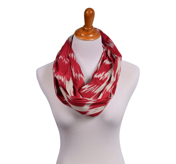 """Athenia"" Cotton Ikat Infinity Scarf Red/ grey"