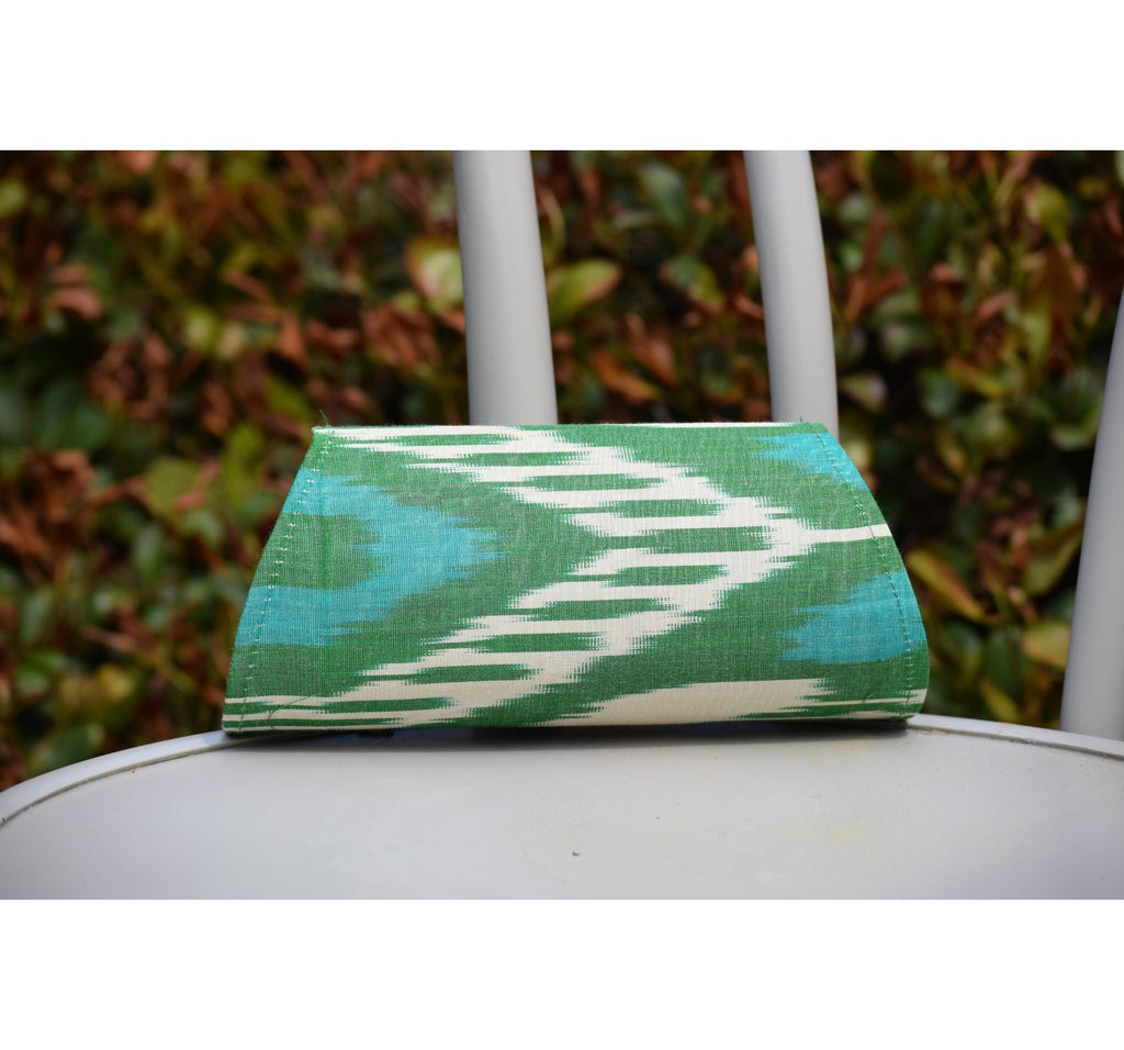 """Manet"" Silk Ikat Hard Shell Clutch, Small in Green, Ivory, and Teal"