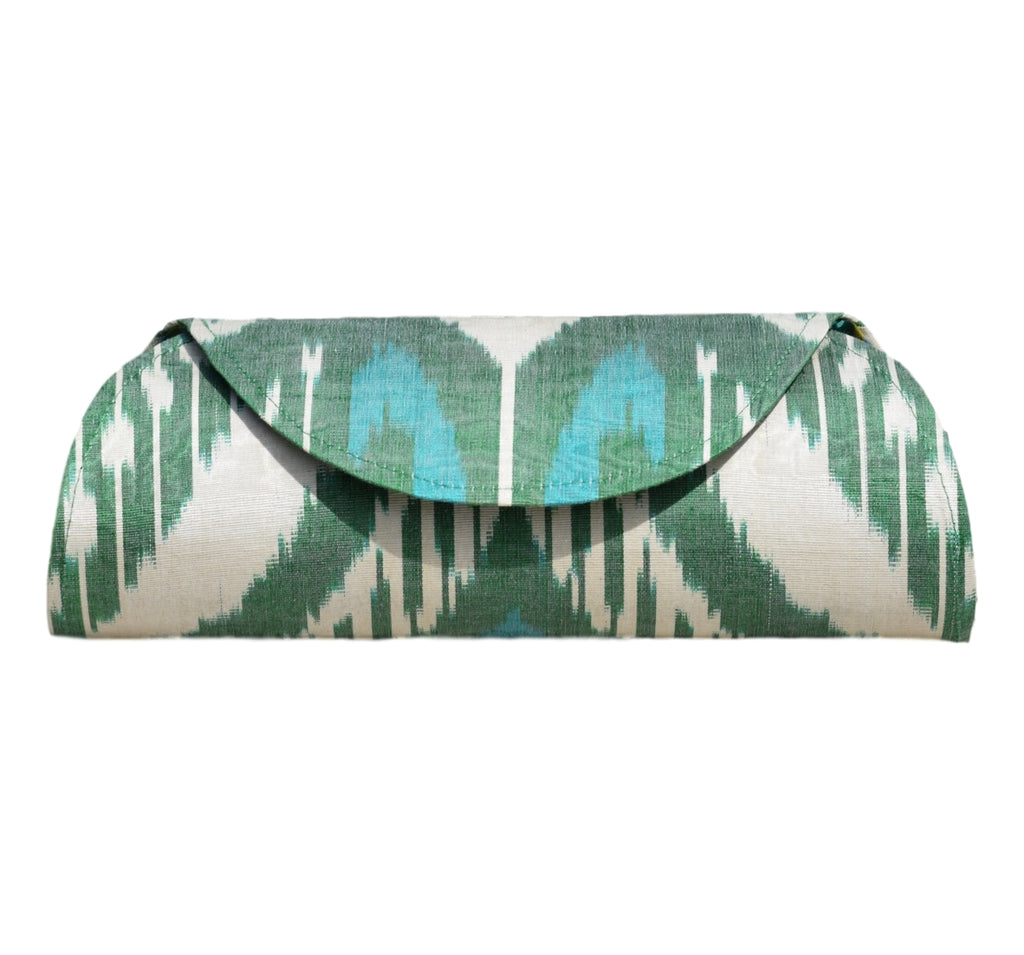 """Manet"" Silk Ikat Hard Shell Clutch, Large in Green, Ivory, and Teal"