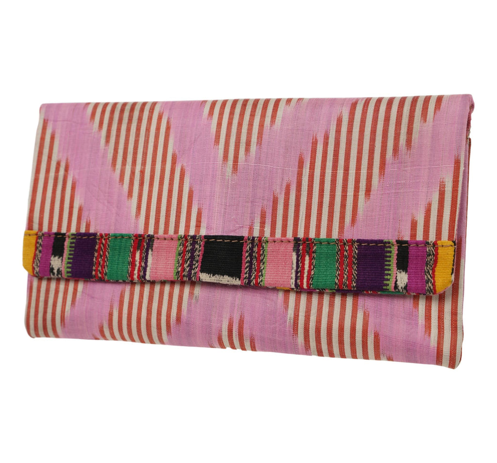 Darien Silk Ikat Clutch with Guatemalan Textile Trim