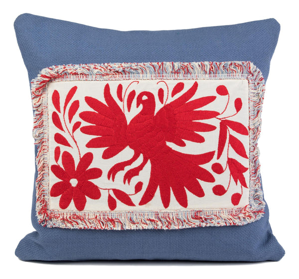 """Dominique"" Otomi Pillow, Red textile, Periwinkle Background Fabric"