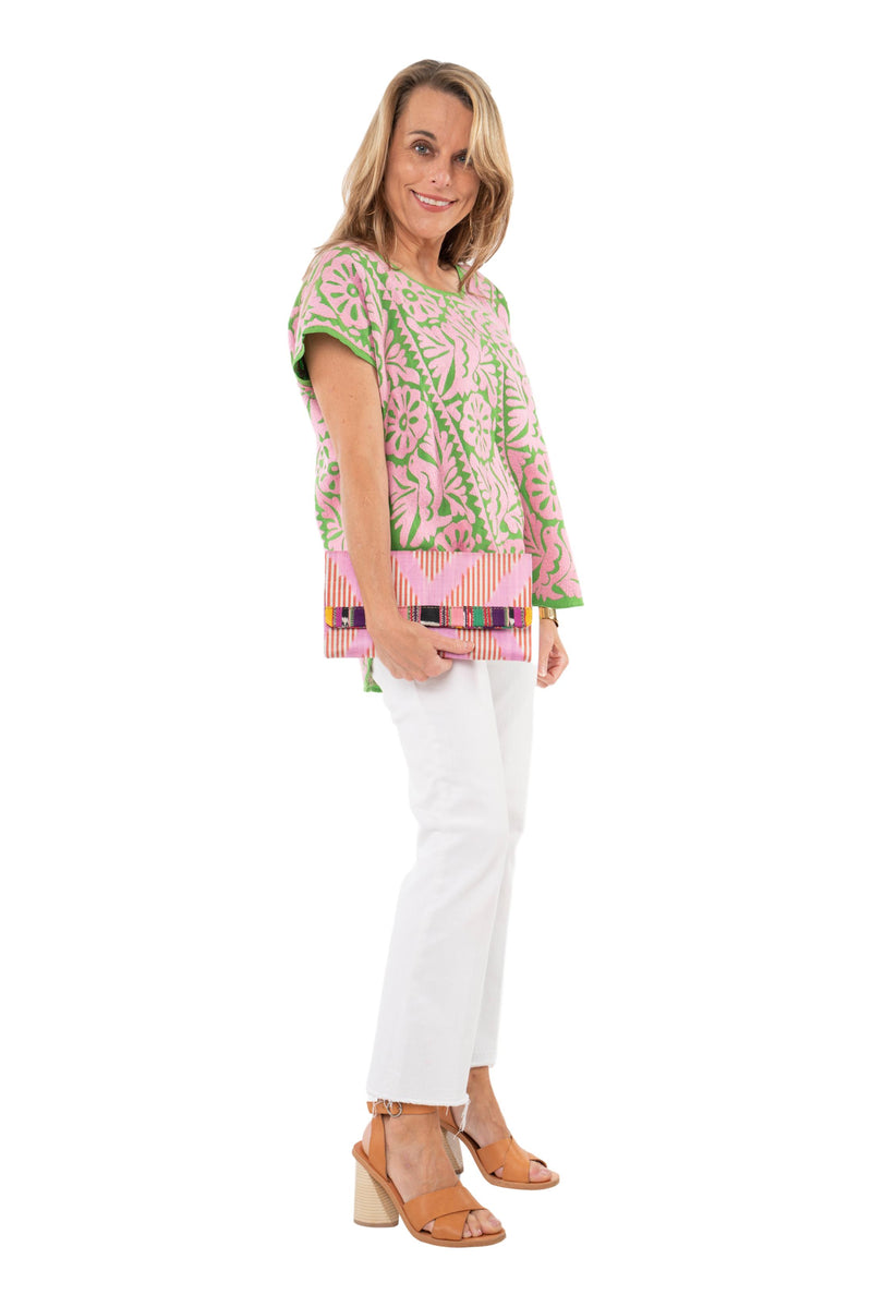 Doña Rosa Mexican Blouse - Pink and Green