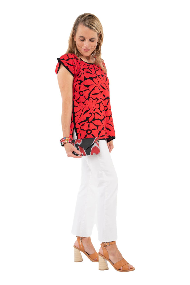 Doña Rosa Mexican Blouse - Black and Red