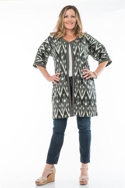 """Durban"" Silk Ikat Jacket in black and white"