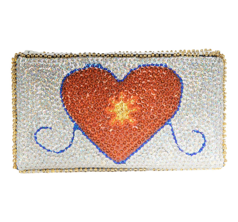 Erzulie Beaded Clutch, Silver, Red, Blue