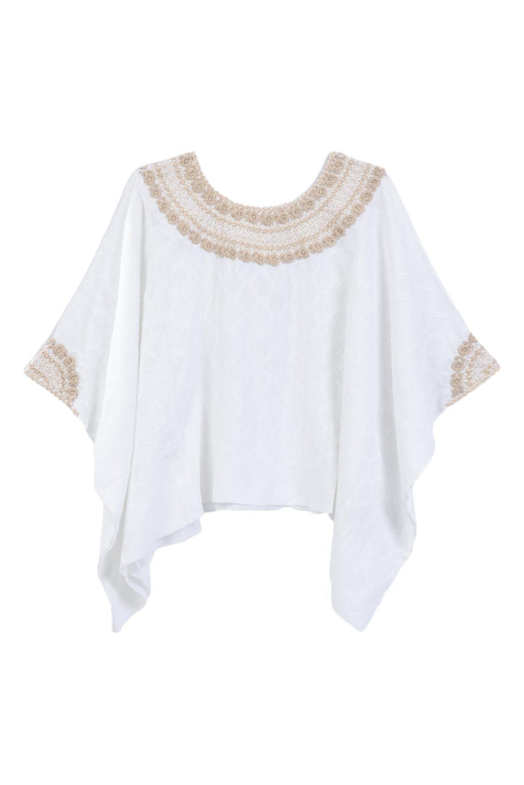 hand woven and embroidered white tunic blouse