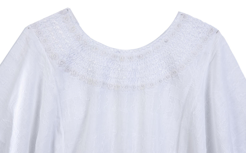 white hand embroidered tunic blouse top detail