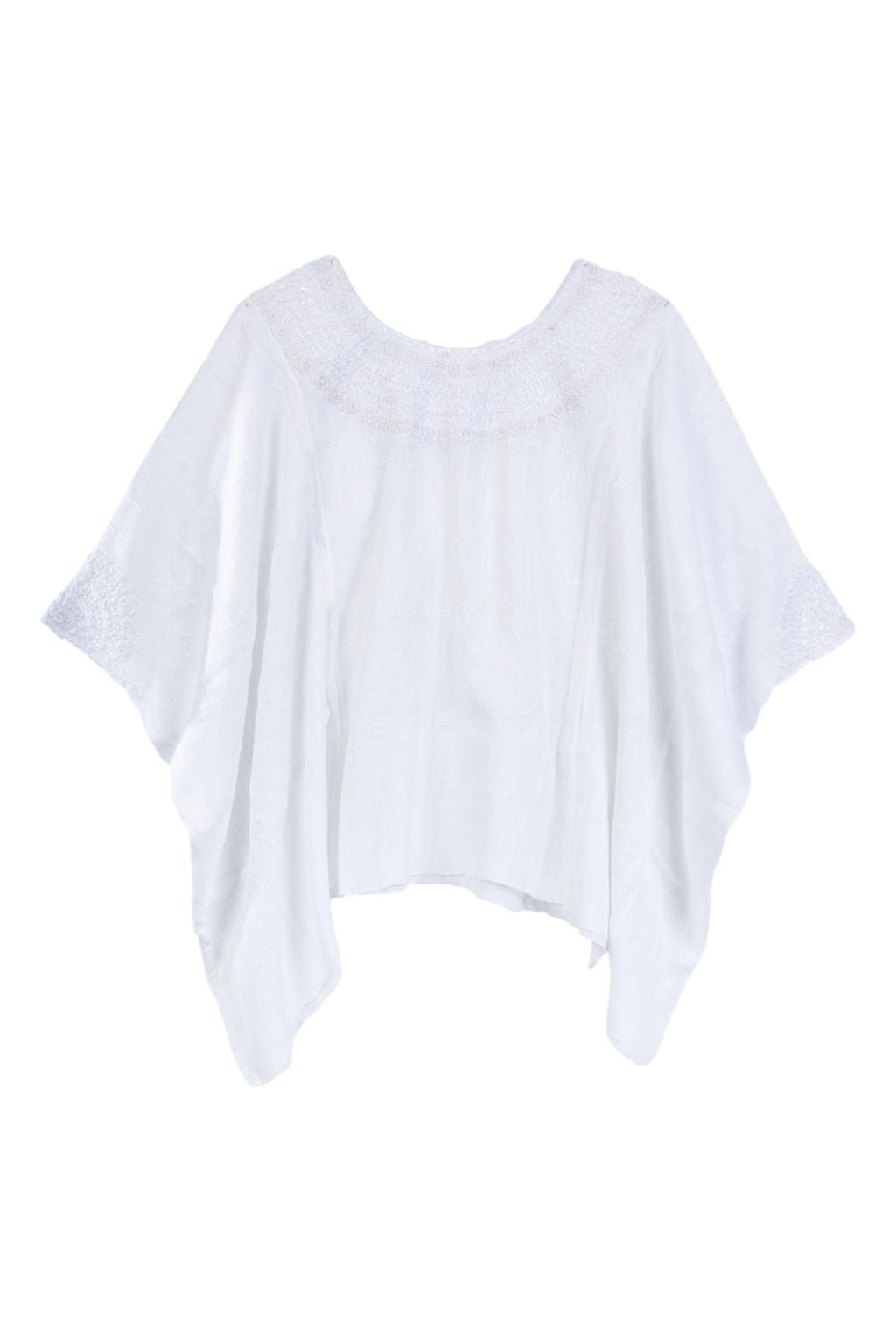 white hand embroidered tunic blouse