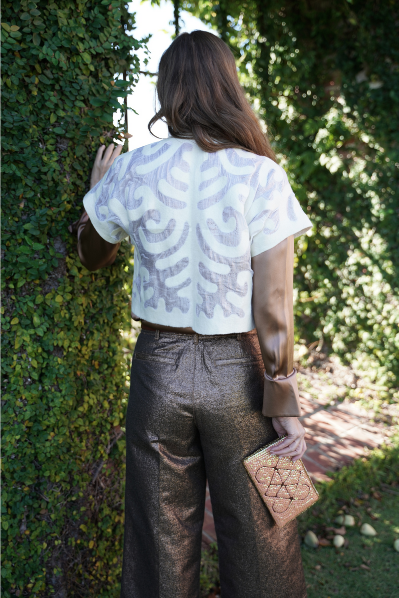 Felted Wool Shrug- White