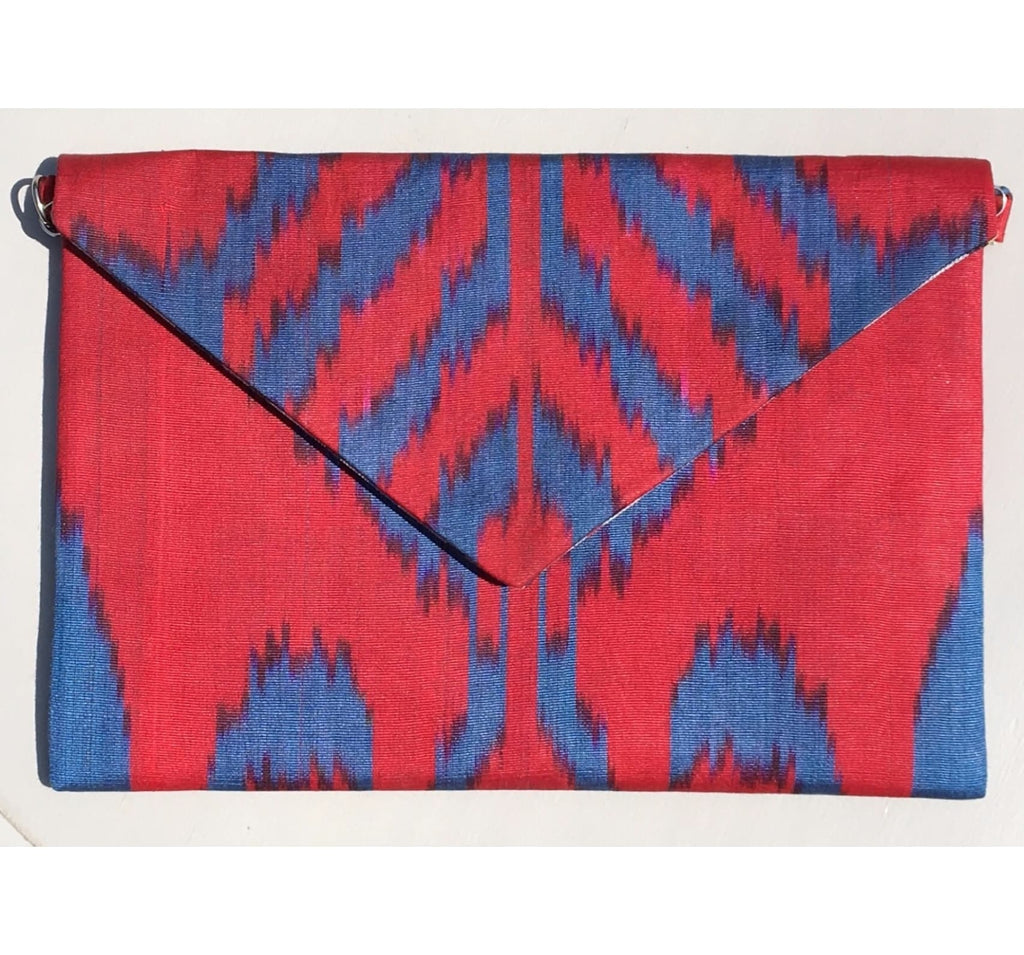 """Rowan"" Silk Ikat Envelope Clutch"