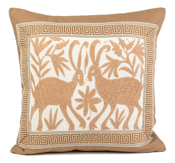 """Gaston"" Otomi Pillow, Beige with Greek Key Tape Trim"