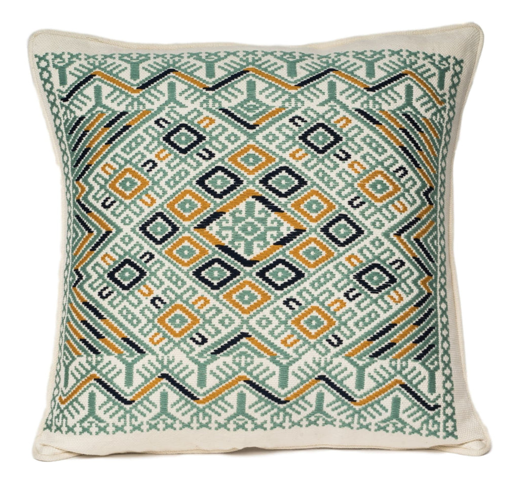 """Montagua"" Guatemalan Textile Pillow in cream and mint"