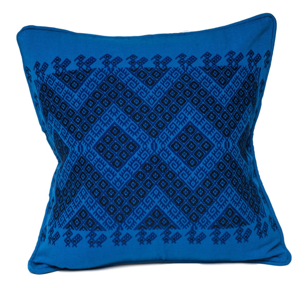 """Montagua"" Guatemalan Textile Pillow in blue and black"