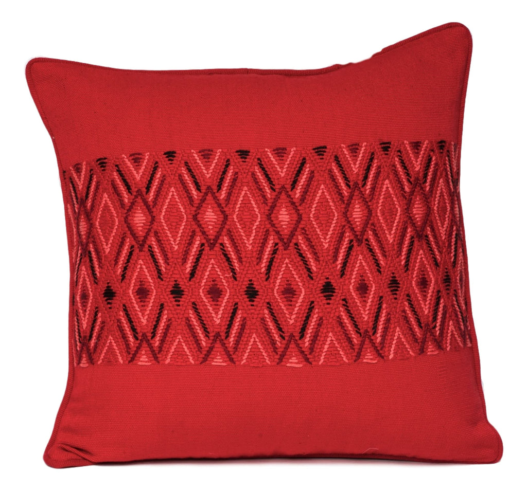 """Montagua"" Guatemalan Textile Pillow in red and black"