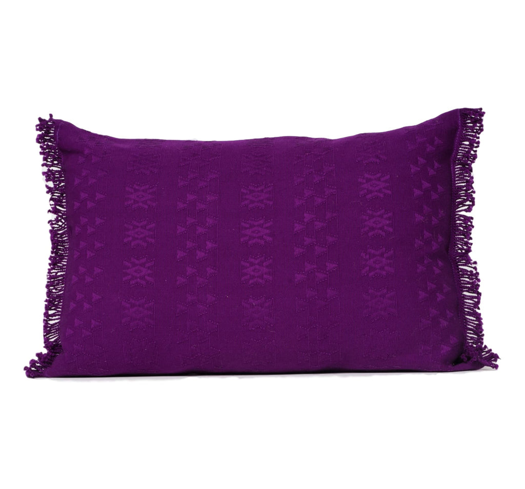 """Cahabon"" Guatemalan Textile Pillow in purple"