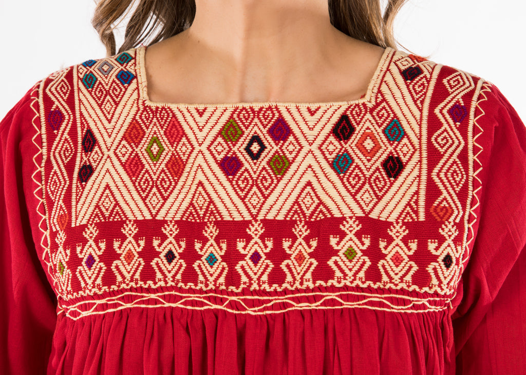 Chiapas Mexican Dress - Red