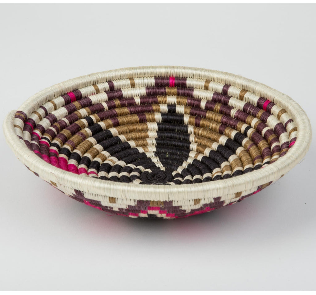 """Joy Basket"" from Rwanda, Bright Pink, Black, Brown, Natural"
