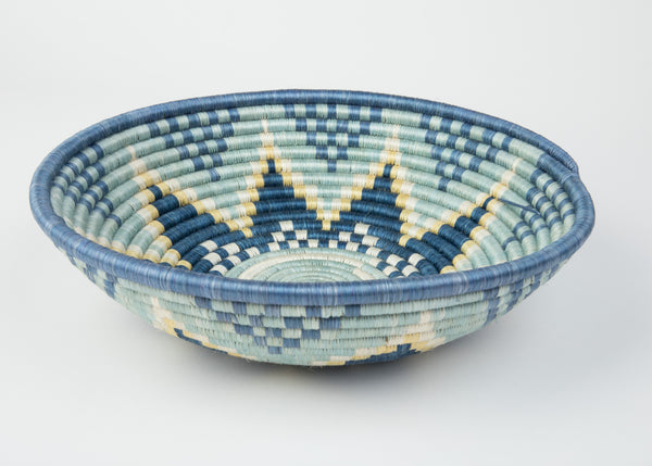 """Joy Basket"" from Rwanda in Shades of Blue and Ivory"