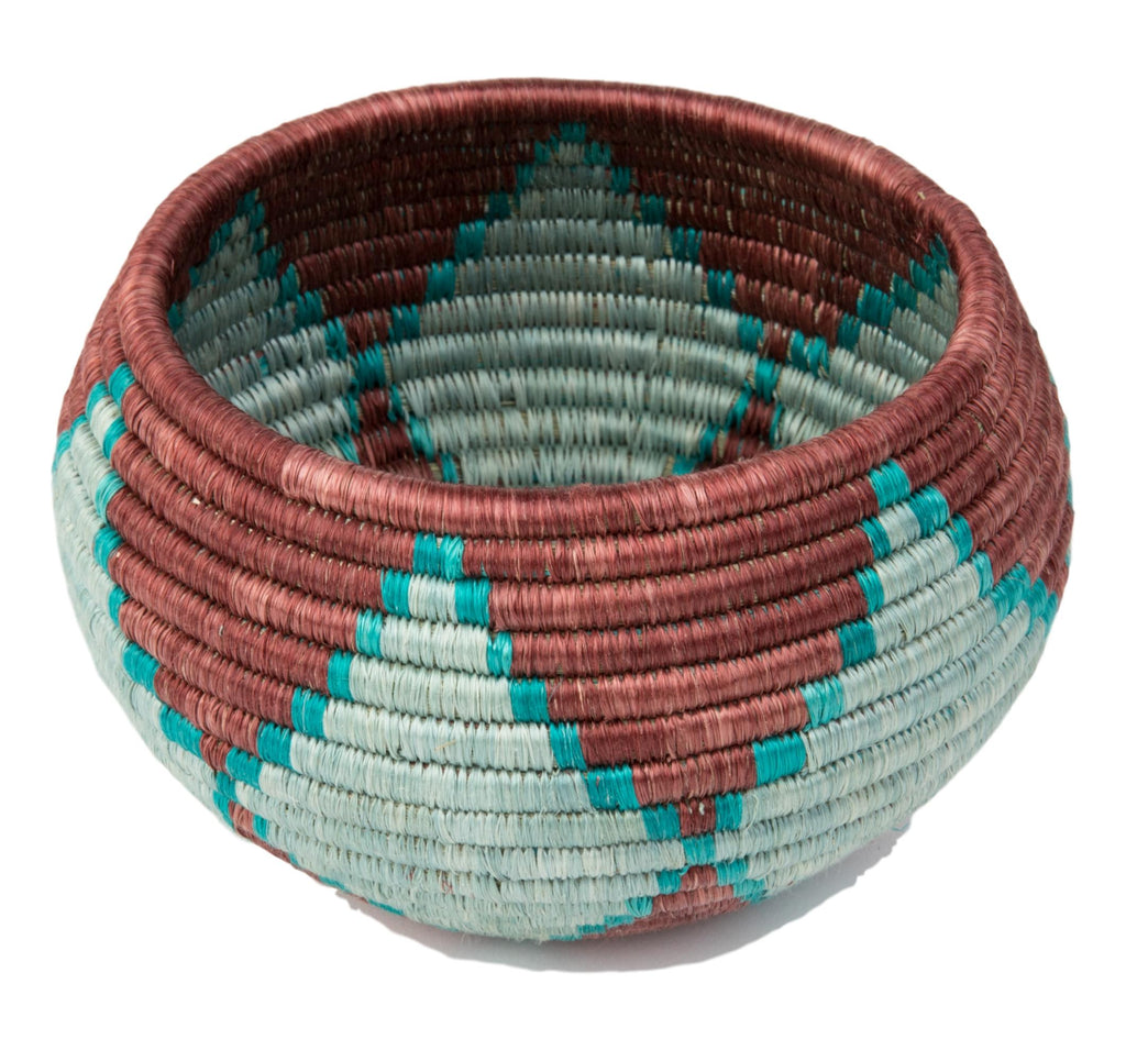"""Joy"" Basket/ Bowl from Rwanda Brown, Turquoise, Light Blue"