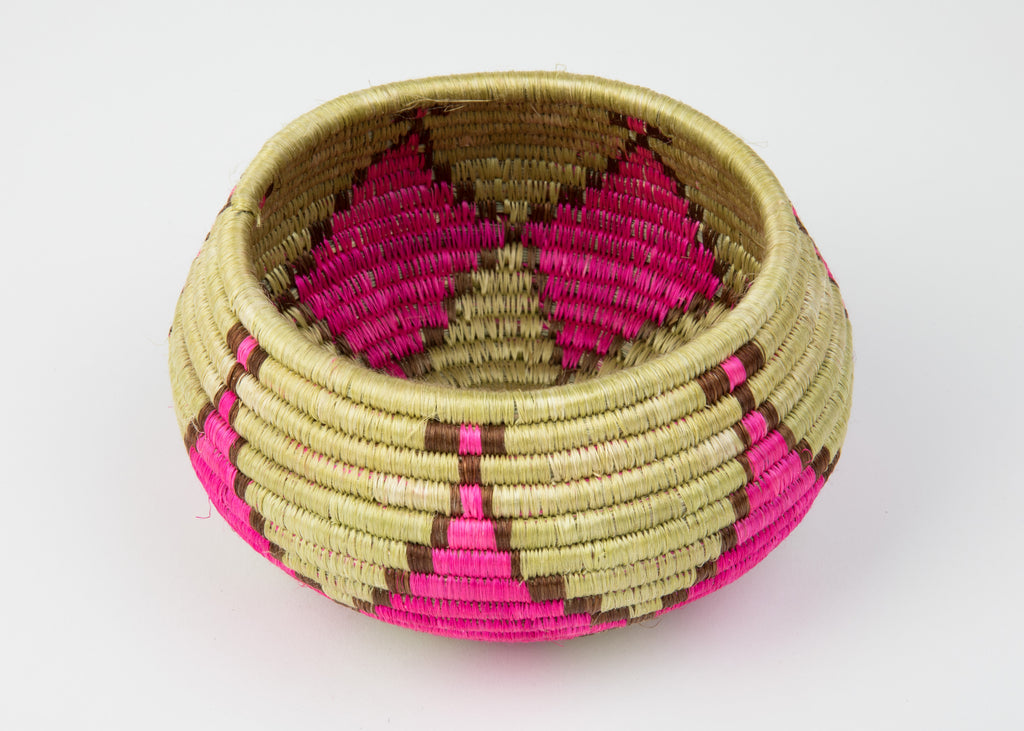 """Joy"" Basket/ Bowl from Rwanda, in Golden Wheat, Pink, and Brown"