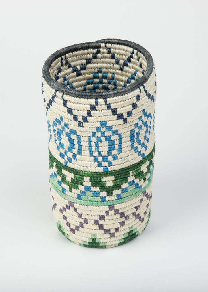 """Joy""  Basket/ Bottle Holder from Rwanda in Blues, Greens, Lilac and Cream"