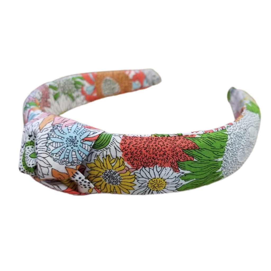 Liberty of London Knotted Headband - White, Green, Light Blue, Coral