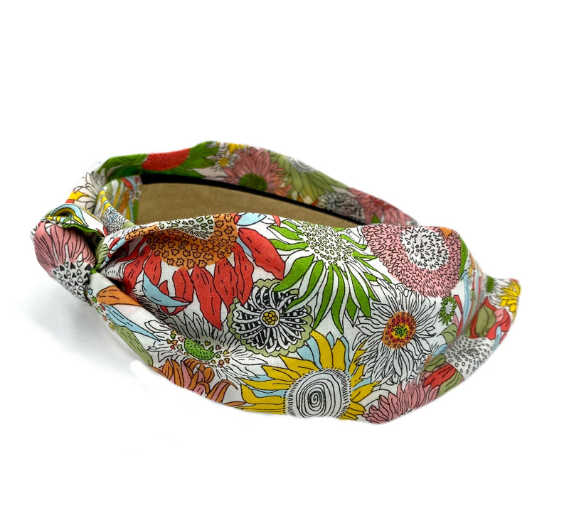 Wide Band Liberty of London Headband - Green, Orange, Light Blue, Coral, Yellow